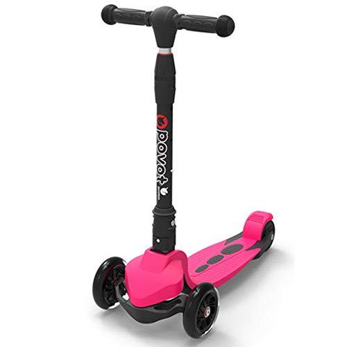 Giow Scooter para Niños, Destello De 3 Ruedas Altura Ajustable Frenos De Resina Plegables,Pink