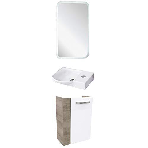 FACKELMANN schmales Badmöbel Set A-Vero Gästebad 3-TLG. 45 cm Waschtisch Unterschrank & Keramikbecken & LED Badspiegel