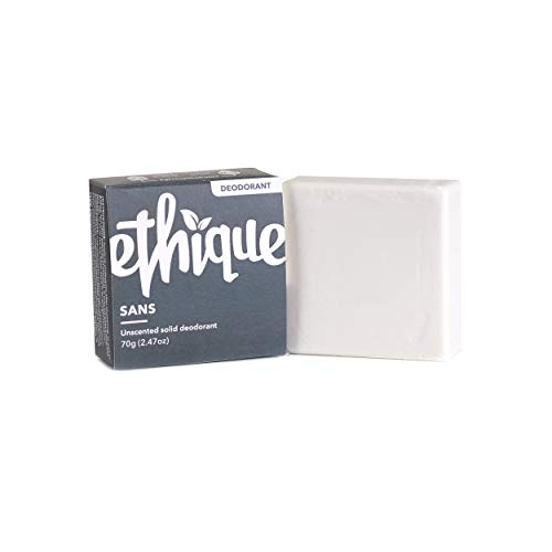 Ethique Eco-Friendly Unscented Deodorant Bar, Sans - Vegan, Non-Toxic, Aluminum Free, Baking Soda Free, Unscented Sustainable Deodorant Bar for Men and Women, 100% Compostable and Waste Free, 2.47oz
