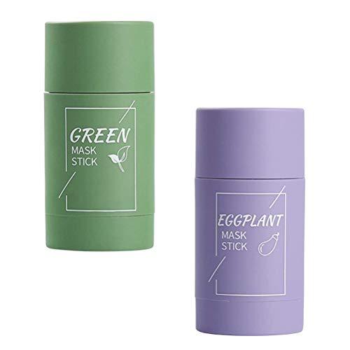 Grüner Tee Purifying Clay Gesichtsmaske Stick Deep Cleansing Oil Control Anti-Akne-Maske, Aubergine feuchtigkeitsspendender Mitesserentferner Gesichtsmaske reparieren und Poren schrumpfen