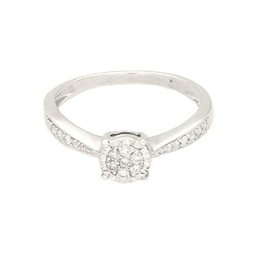 Anillo de oro blanco de 9 quilates con diamantes de 0,15 quilates con detalles (tamaño L 1/2) cabeza de 6 mm | Anillo de lujo para mujer