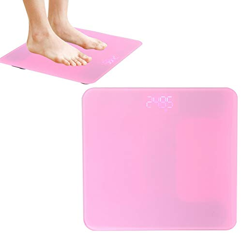 Digital Body Weight Bathroom Scale,Smart Touch USB Household Body Fat Scale Measure Weight (Pink)
