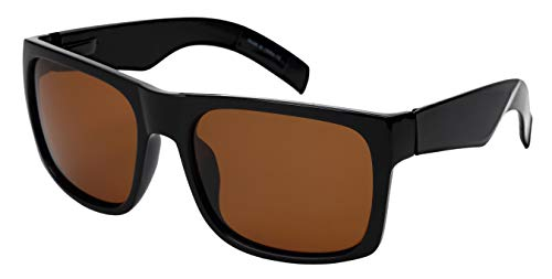 Extra Large Wide Rectangular Frame Polarized Sunglasses for Big Head with Spring Hinge MBG540987S-P-2(BLK,sd2)