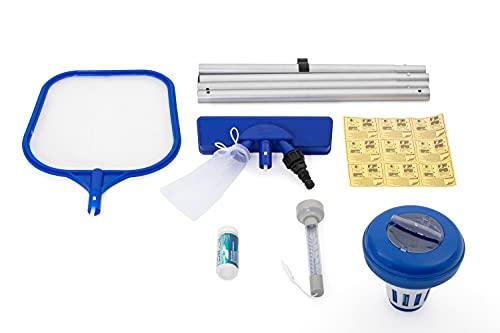 Bestway - Kit de nettoyage pour piscine : aspirateur venturi, épuisette, flotteur chimique, thermomètre flottant, bandelettes de test