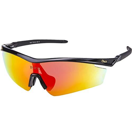Occhiali da Sole Polarized Sports Mens per Golf da Guida da Sci Ciclismo Superlight con 5 Lenti intercambiabili DC0022 (Nero)