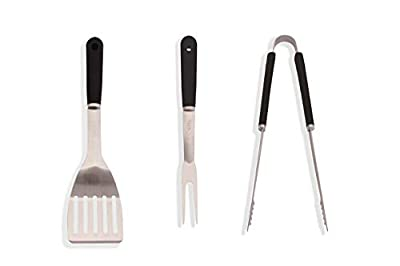 Caligril Barbecue Tools Set - Stainless Steel BBQ Spatula, BBQ Fork & BBQ Tongs. Perfect for Camping, Picnics, Outdoor BBQ, Backyard Grilling and Any Cooking