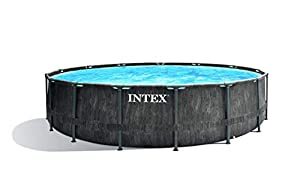 immagine di Intex Greywood Prism Frame Premium Pool Set Piscina, Effetto Legno Grigio Scuro, Ø 457 x 122 cm
