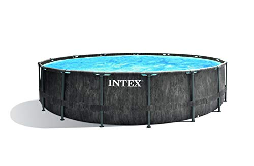 Intex Greywood Prism Frame Premium Pool Set Juego de Piscina, Color Gris Oscuro, Ø 457 x 122 cm