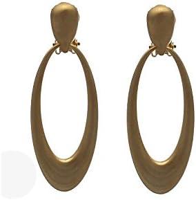 TAYLAH Brushed Gold Hoop Clip On Earrings