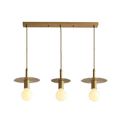 Lámpara de Techo de Montaje Empotrado de Cobre nórdico, lámpara de Techo de decoración de diseño Creativo Simple E27 para Dormitorio, Pasillo, Barra, lámpara, 6 Luces, 80 x 35 cm (31 x 14 Pulgadas)