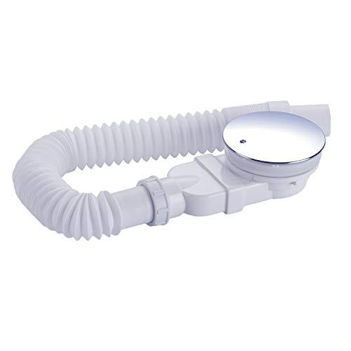 IMPTS Desagüe para ducha de 90 mm, extraplano, orificio de desagüe para plato de ducha, sifón con parada de olores, colador de pelo, manguera flexible, cubierta cromada