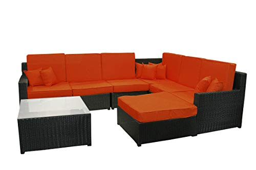 8-Piece Black Wicker Sectional Sofa/Table/Ottoman Set - Red Cusions