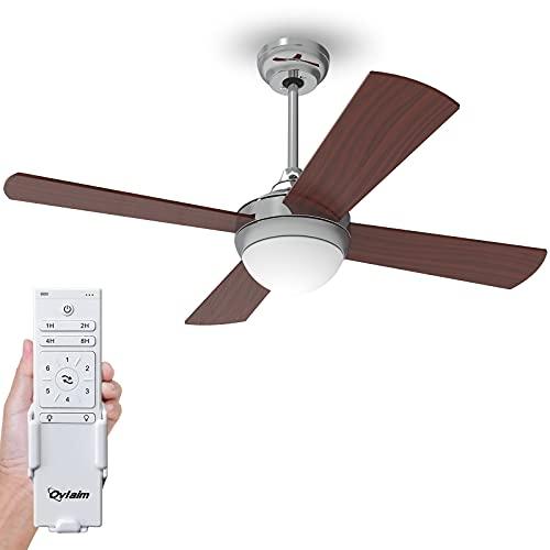 Ovlaim ventilatore da soffitto moderno da 122 cm con illuminazione a LED (3 colori) e telecomando (6 velocità), motore DC a risparmio energetico, silenzioso, adatto per l'estate e l'inverno - Marrone