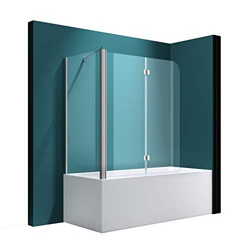 Badewannenfaltwand C113 Wandanschlag links in Klarglas 6 mm ESG-Glas Nano-Versiegelung BTH: 70x120x140cm