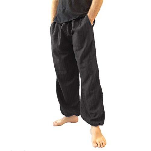 Justwide Pantalones Sueltos De Entrepierna para Hombres Y Mujeres Pantalones De Yoga con Mono Estampado Retro(Negro,4XL)