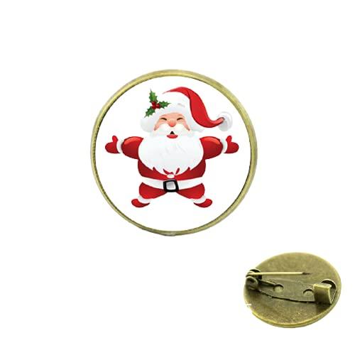 Papá Noel Navidad abrazo broches de joyería para hombres y mujeres para bebé medalla de cúpula de cabujón de cristal