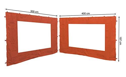 Quick-Star - 2 pareti Laterali con Finestra in PVC per Gazebo, 3 x 4 m, Parete Laterale Terra