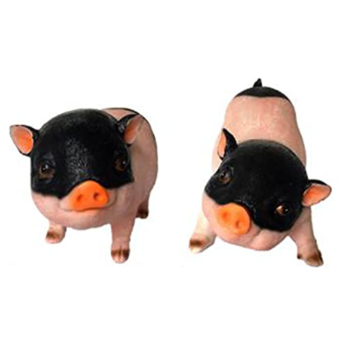 Garden Decoration, Set of 2 Miniature Pig Figurines Mini Animals Playset, Cute Piggy Toy Figures for Fairy Garden Car Decoration Home Decor