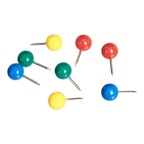 Amazon Basics Multi-Color Push Pins Map Tacks, 0.39-Inch Round Head with Stainless Point, Assorted Colors - 100-Pack
