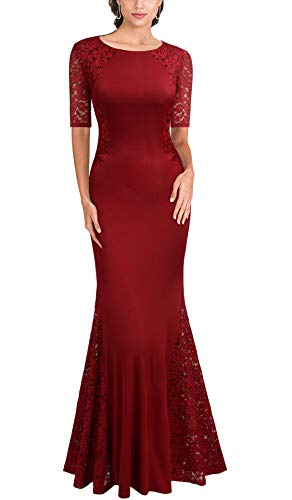 FORTRIC Women Short Sleeve Lace Wedding Party Bridesmaid Maxi Dress Burgundy XL (Apparel)