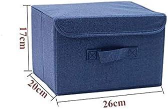 HXSD Washable Cotton Linen Storage Box with lid Clothes Socks Toy Snacks Sundries Organizer Cosmetics Storage Basket (Colo...