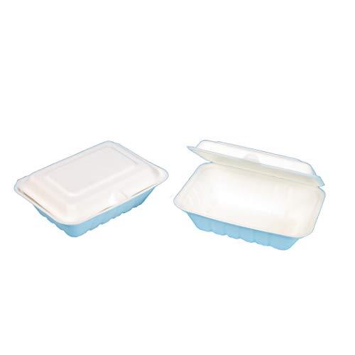 300 Bio Snackboxen Bagasse Zuckerrohr Foodbox Burgerbox Klappbox Menübox weiß 185x143x62mm ca. 530ml