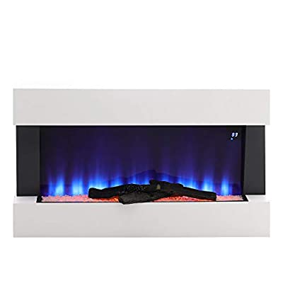 FIDOOVIVIA Electric Fireplace Wall Mounted Fire Suite Heater 7 Coloured LED Light Fire with Log & Pebble Set & Remote Control for Living Room Bedroom