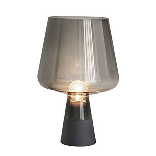 Lámpara Escritorio Retro ahumado gris dormitorio mesita de noche copa de vino en forma de lámpara de mesa de vidrio LED casa creativa sala de estar estudio hotel club decoración lámpara 25 * 38 CM
