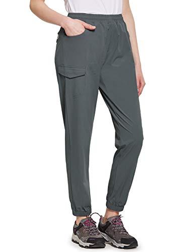 BALEAF Women's UPF 50+ Hiking Pants Athletic Joggers Lightweight Quick Dry Running Pants Deep Gray XL