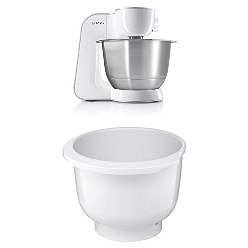 Bosch MUM54270DE Küchenmaschine (900 W, 3,9 l, edelstahlrührschüssel, Würfelschneider) weiß/silber + MUZ5KR1 Kunststoff-Rührschüssel für Küchenmaschine Mum5