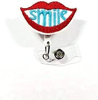 Smile Lips Retractable ID Badge Reel - SLP Badge Holder -Dental Hygienist ID Badge Reel - Orthodontist Badge Holder - Dentist Badge Clip - Gift for Women (Alligator Swivel Clip)