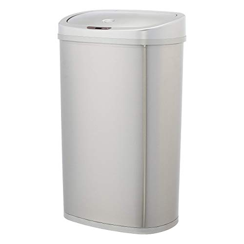 AmazonBasics - Cubo de basura automático de acero inoxidable, rectangular, 50 litros