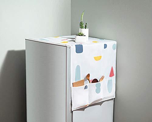 Kinteshun Fridge Dustproof Cover,Refrigerator Washing Machine Top Cover with Kitchenware Organizer Pockets