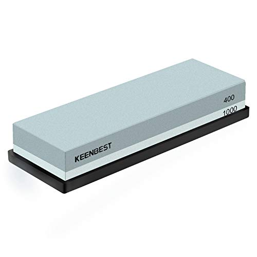 Sharpening Stone Whetstone Set 2 Side Grit 400/1000 KEENBEST Kitchen Knife Sharpener Stone, Best Wet Stones for Sharping Knives Best Kit with Non-Slip Rubber Base