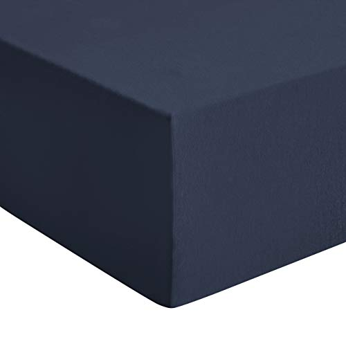 Amazon Basics - Premium-Spannbetttuch, Jersey, Marineblau - 140 x 200 cm