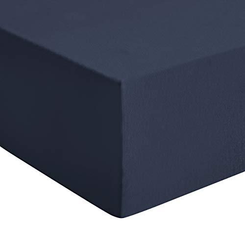 AmazonBasics jersey premium hoeslaken, marineblauw - 180 x 200 cm, super king