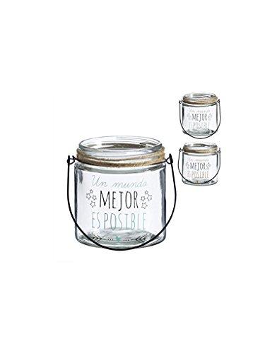 Portavelas candelabro para salón/Dormitorio con Mensaje Positivo. Diseño Motivador 12 x 10 cm - Hogar y más - Azul Claro