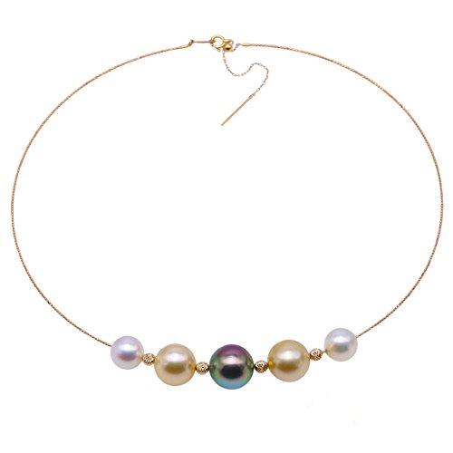 jyx Wonderful 9,5–13mm South Sea Golden Perlen & Schwarz Tahiti und Akoya Perlen Damen Gold Halskette 40,6cm