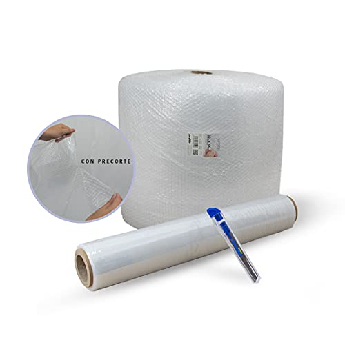 Sumicel - Pack Mudanza con rollo de plástico de burbujas de 50 cm de ancho y 100 metros de longitud CON PRECORTE (Pack 8)