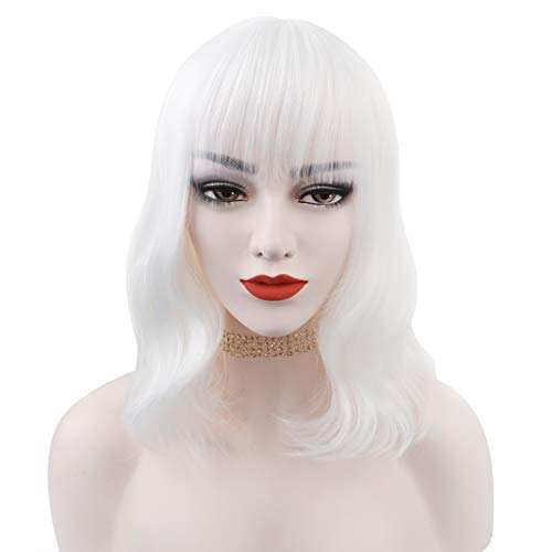 Winrase Colorful Mid-length Wigs Women Girls 14' Wavy Curly Wigs with Air Bangs Included Wig Cap (White)