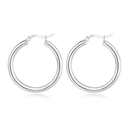 Silver Hoops Earrings for Women, 925 Sterling Silver Hoop Earrings, Hypoallergenic Large Chunky Hoop Earrings for Girls Gifts(Silver, 40)
