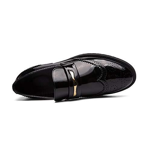 HILOTU Oxford De La Moda De Los Hombres Personalidad Casual Tallada En Cuero Zapatos Brogue Calzado De Verano Transpirable Sin Cordones para Caminar (Color : Negro, tamaño : 40 EU)