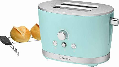 Toaster mit Brötchenaufsatz Mint Edelstahl Regelbarer Thermostat (Retro, 850 Watt, 2 Toastschlitze, Krümelschublade)
