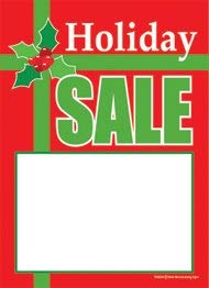 T50BOW Holiday Sale Christmas Bow- Slotted Sale Tags - 5' x 7' (100 Pack) Business Store Signs Price Cards Seasonal