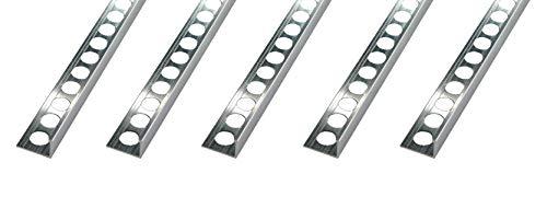 Fuchs tegelprofiel PREMIUM 10 x 2,5 m (=25m) aluminium naturel 8 mm hoekprofiel afsluitprofiel tegel randbescherming