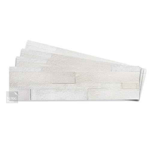 Tic Tac Tiles 4-Sheets Peel and Stick Self Adhesive Removable Stick On Kitchen Backsplash Bathroom 3D Stone Tiles (Natural White)