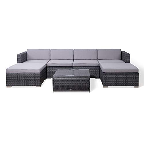 EVRE Rattan Outdoor Garden Furniture Nevada Set Seater Sofa with Coffee Table (Grey)