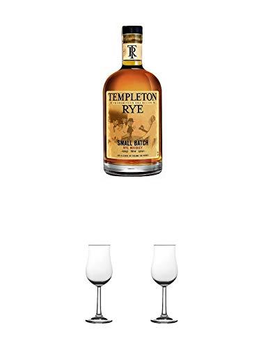 Templeton Small Batch Rye 4 Jahre 40% Whisky 0,7 Liter + Nosing Gläser Kelchglas Bugatti mit Eichstrich 2cl und 4cl 1 Stück + Nosing Gläser Kelchglas Bugatti mit Eichstrich 2cl und 4cl 1 Stück