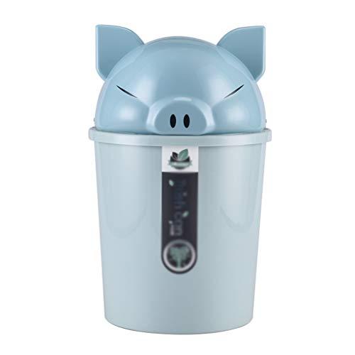 WYWY Papelera Basura Cubo de Basura de la Historieta Creativa Piggy Bin Hogar Baño Sala Cocina plástica de la Cubierta Europea Papelera Cubo de Basura (Color : Blue, tamaño : 8L)