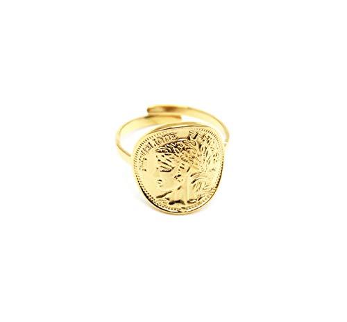 Oh My Shop BG491F - Anello regolabile con moneta Napoleone in acciaio dorato